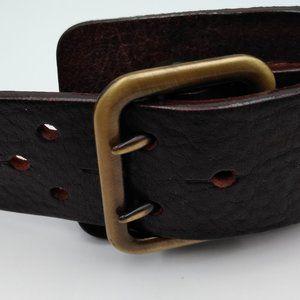 """Cuir Veritable Brown Leather Belt 33 1/2"""" Long"""